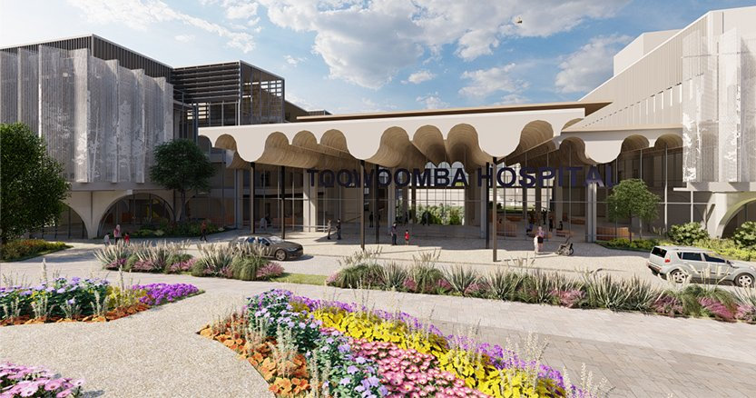 3D renderings of the propoed Toowoomba Hospital at the Baillie Henderson campus.
