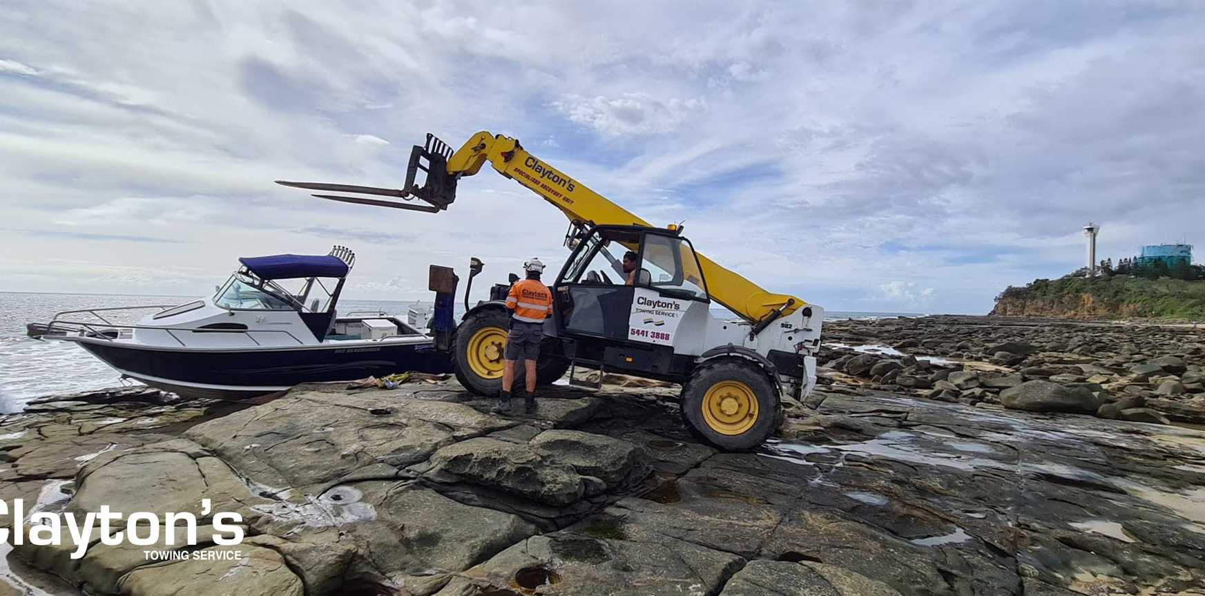 Clayton's Towing crews came to the rescue when a skipper accidentally ended up on the rocks at Point Cartwright on Monday.