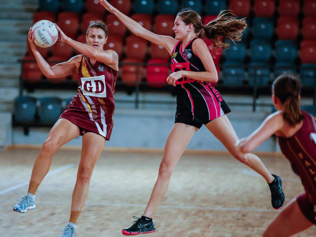 Netball is one of the confirmed sports that will return to the courts again this weekend as stage three coronavirus restrictions in the NT are eased from Friday at 12pm. Picture: Glenn Campbell