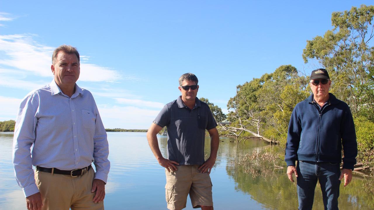 L to R: Stephen Bennett MP, Rocky Point Retreat owner Darren Rasmussen and Des Quinn, Winfield Resident at Baffle Creek.