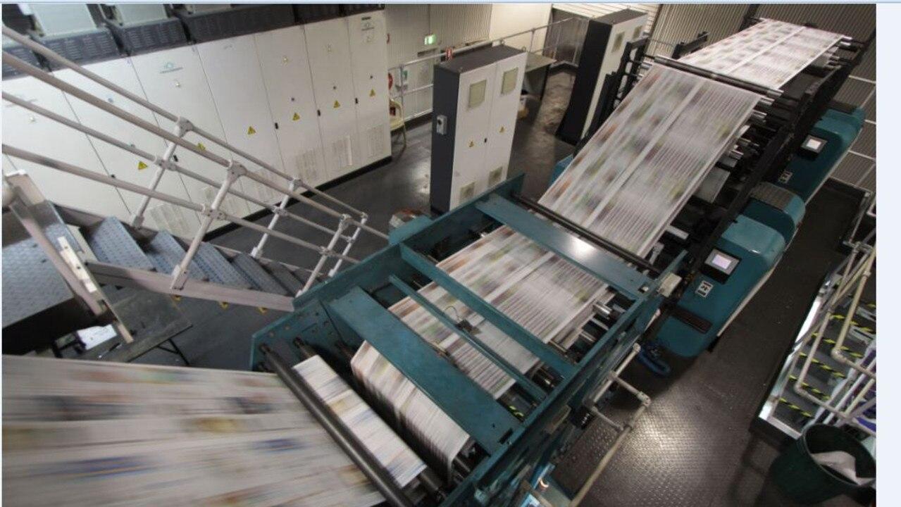 The Morning Bulletin running through the APN Printing press at Hempenstal Street, Rockhampton. Photo: Chris Ison