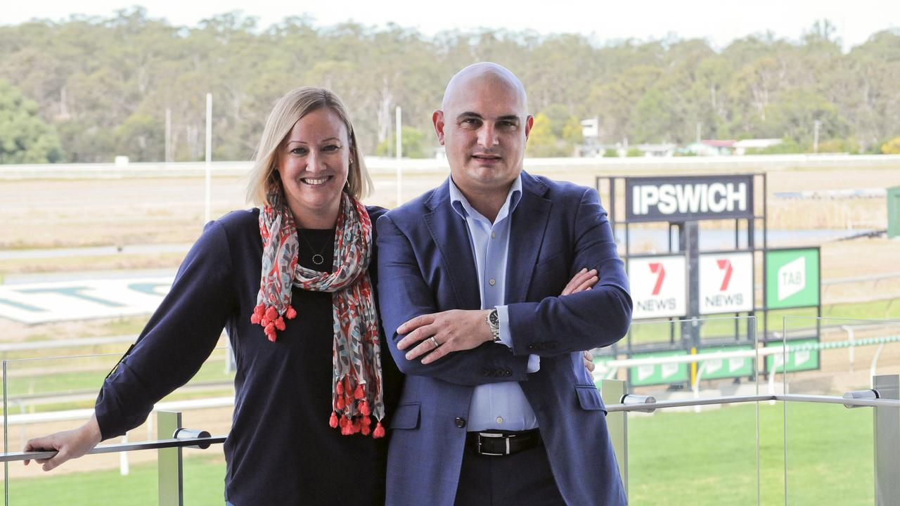 Ipswich Turf Club operations manager George Musat and his wife Karyn Sutton. Picture: Claire Power