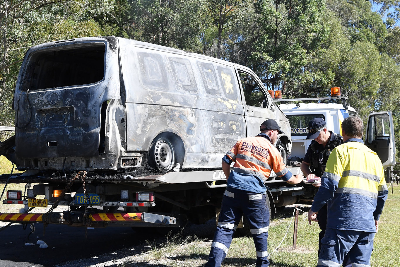 A van was destroyed after a fire ignited under the bonnet when it overheated at Tanawha on Wednesday. Photo Patrick Woods / Sunshine Coast Daily.