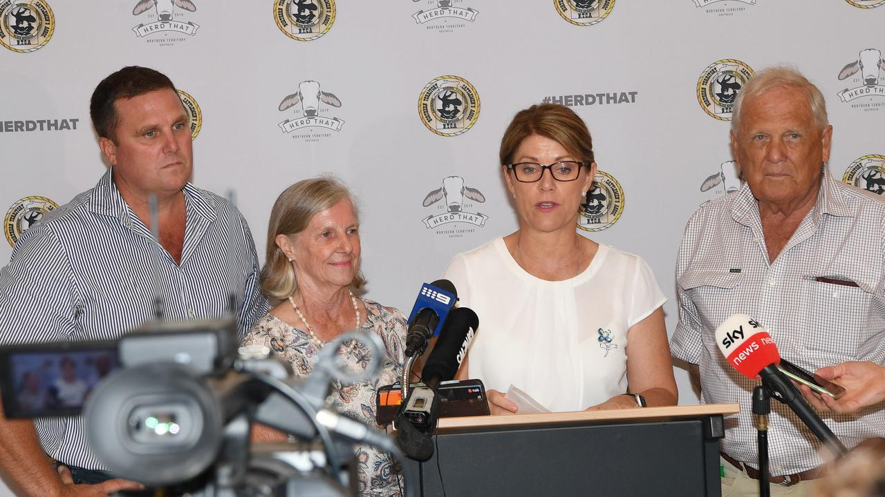 Former NT Cattlemen's Association CEO Tracey Hayes, second from right, with Brett Cattle Company owner Hamish Brett, Alison Brett and Colin Brett at a press conference following the landmark Federal Court decision. Picture Katrina Bridgeford.