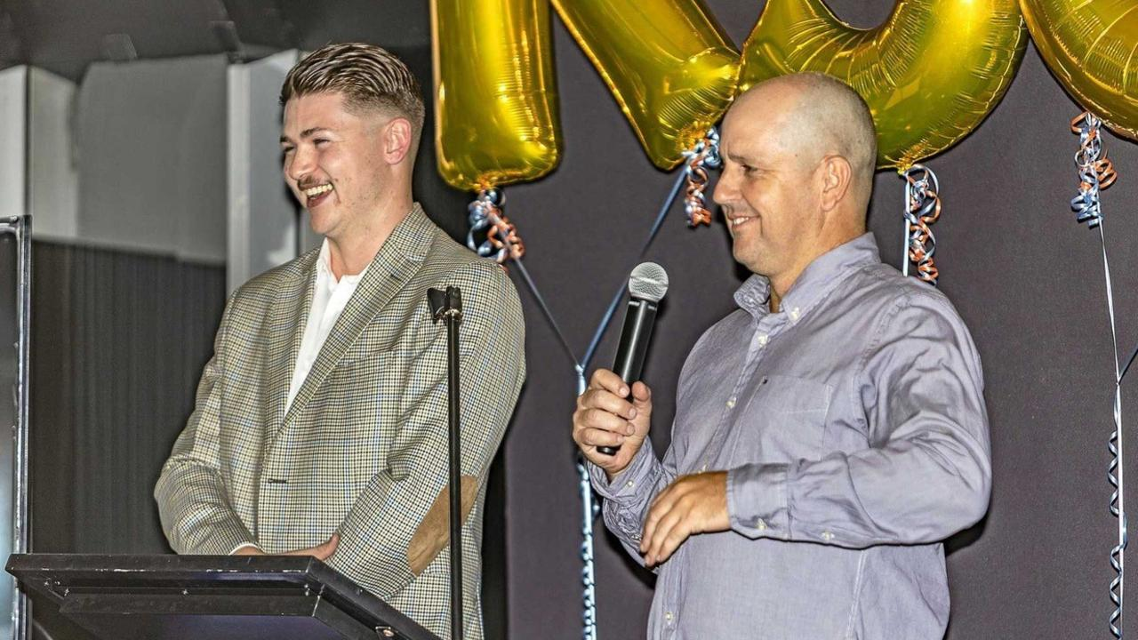 Rocky Sports Club manager Jack Hughes (left) with club co-founder Gavin Shuker at the club's first annual dinner last year.