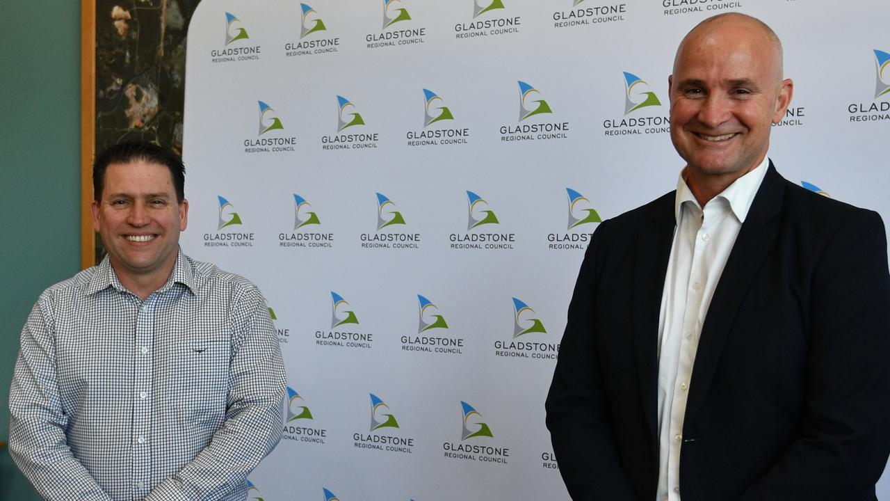 Gladstone Mayor Matt Burnett and Member for Gladstone Glenn Butcher announcing $5.2 million for the region from the state government's COVID Works for Queensland program.