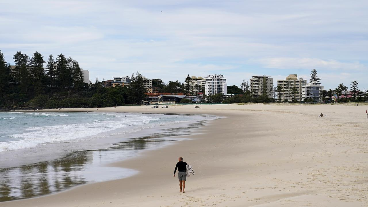 A near-empty beach at Coolangatta. Picture: AAP.