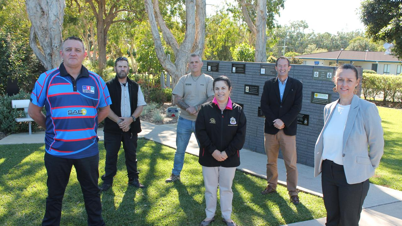 VETERANS SUPPORT: (From right) STEPS Group CEO Kerry Staines, MP Andrew Wallace, Caloundra RSL president Cathy Stamp, Sunshine Coast Young Veterans' Peter Kennedy and Tim Cuming and Ray Carson, of SMEAC Inc.