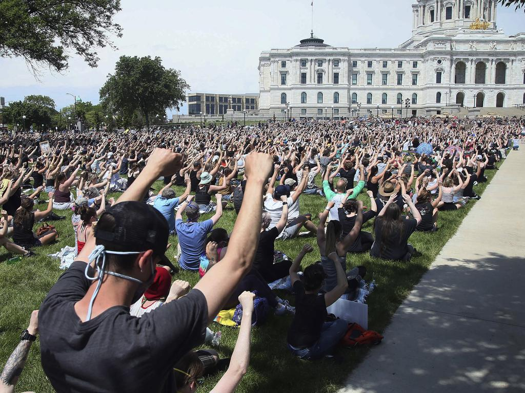 Thousands of people gather at the State Capitol in St. Paul, Minnesota. Picture: AP