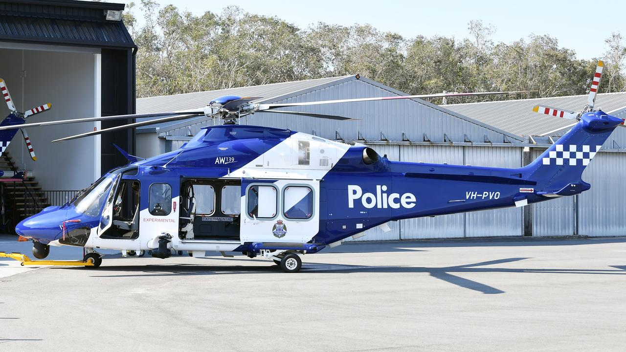 Victoria Police helicopters being fitted out and tested at HeliMods at Caloundra Aerodrome. Photo: Patrick Woods