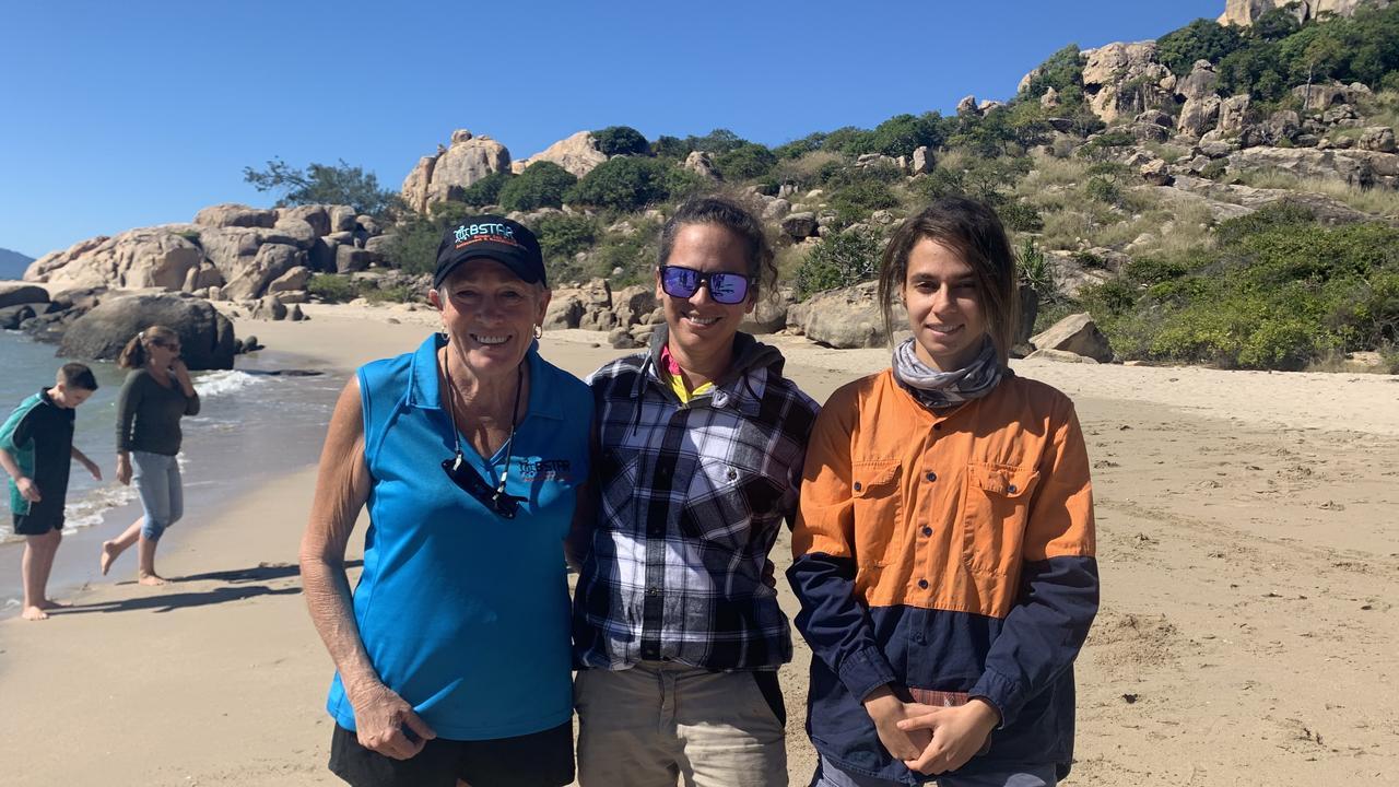 Tracey Bazzo with Jess Vakameilalo and Tiana Cora who found Quarantina.