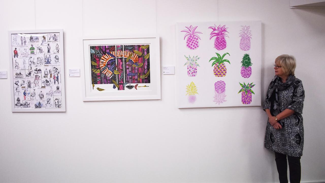 CQUniversity Art Collection Manager Sue Smith at the 2019 CQUCreates Art Awards Exhibition.