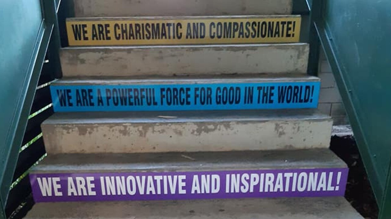 POSITIVE: Some of the positive affirmation signs that were introduced to a staircase at Woombye State School. Picture: Supplied