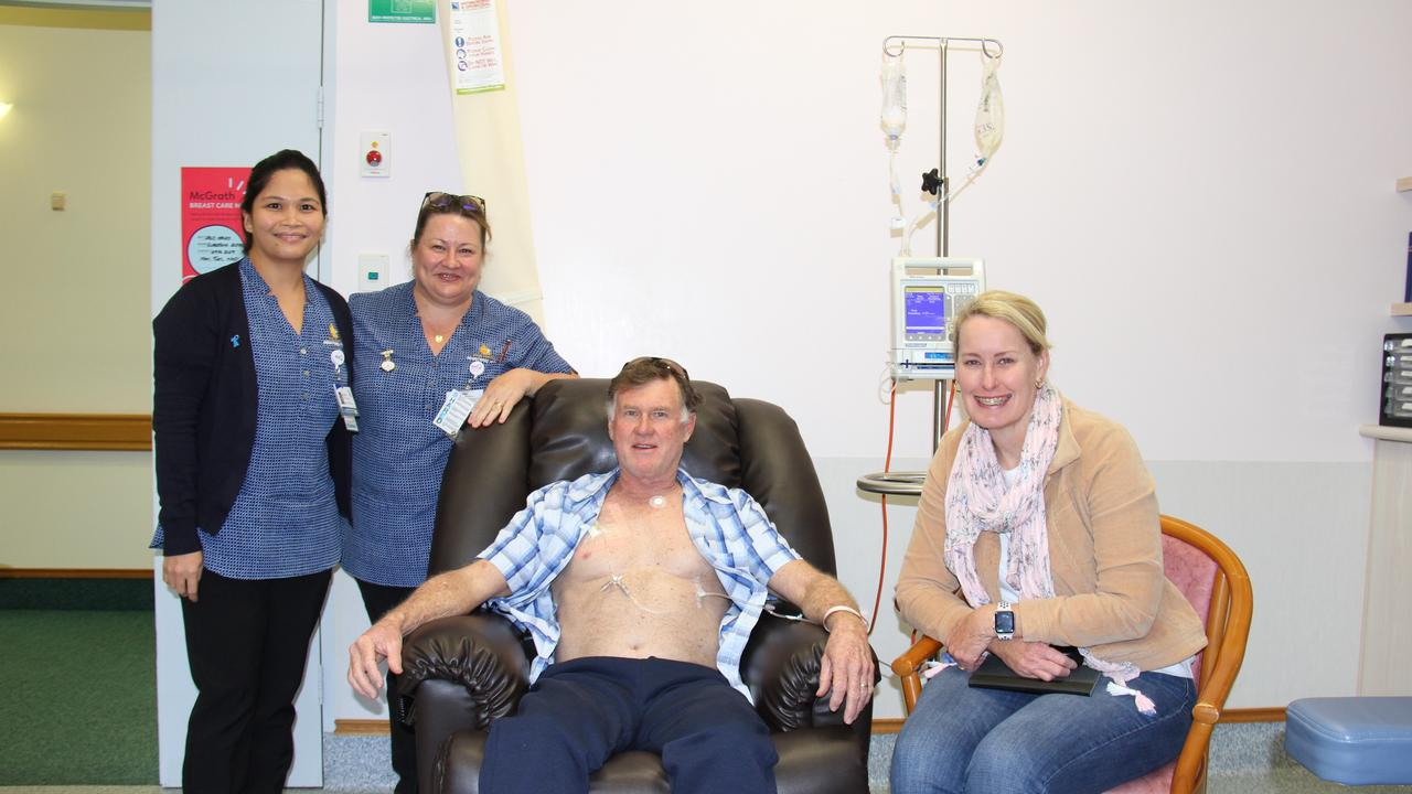 Mater Hospital Gladstone nurses Cindy Castaneros, Tracey McLucas, Rick Niven and his wife Christine during chemo treatment.