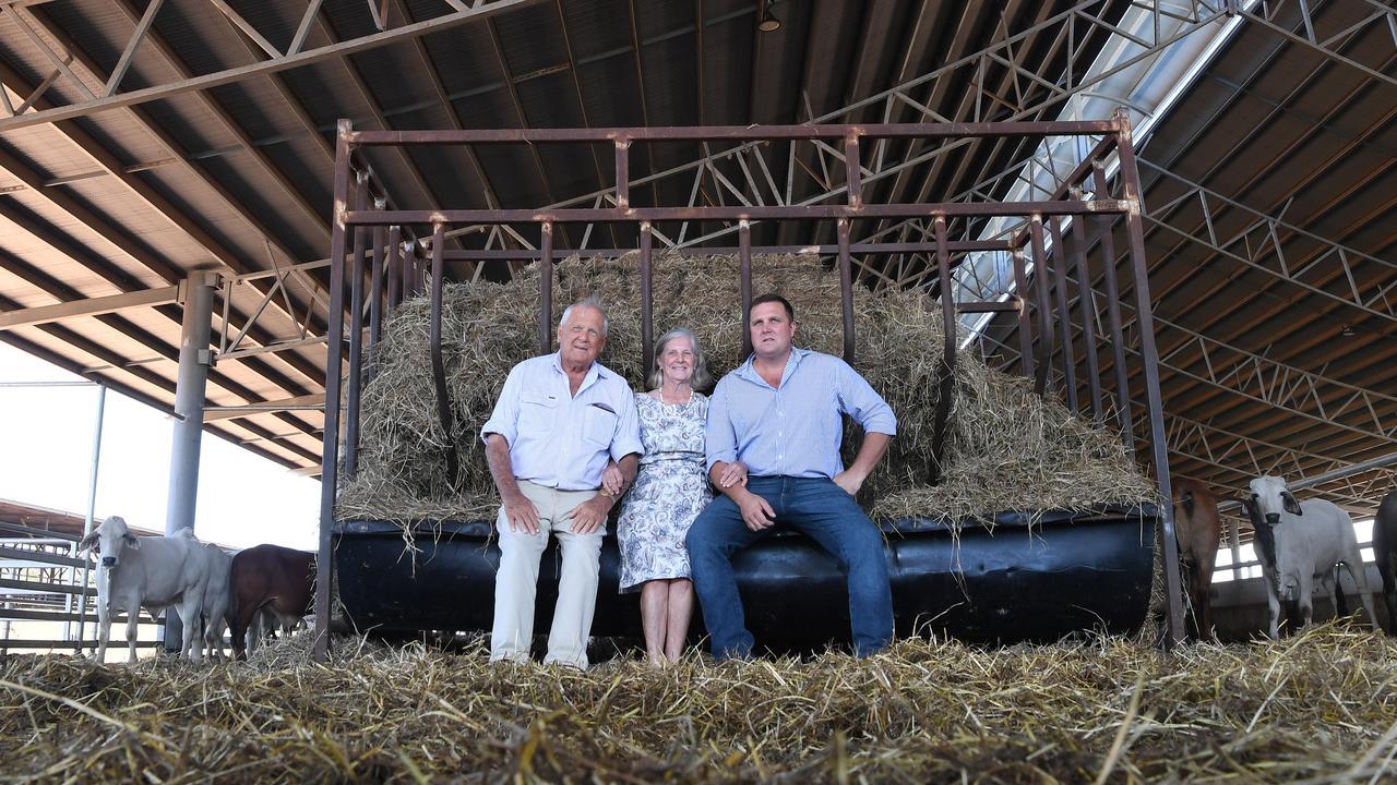 Colin Brett, Alison Brett and Hamish Brett at the Berrimah Farm Export feedlot following the historic Federal Court ruling.  Picture: Katrina Bridgeford
