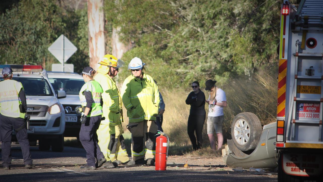 The scene of the single vehicle crash on Barkers Creek Rd, ten minutes out of Kingaroy.