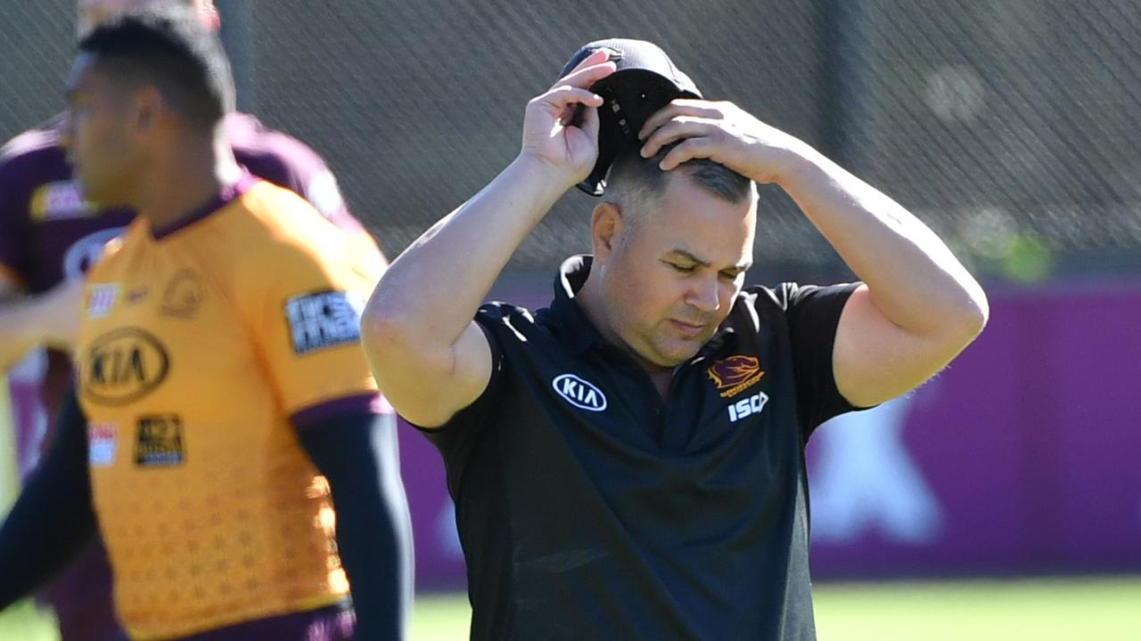 Broncos coach Anthony Seibold gave Channel 7 both barrels. Picture: AAP/Darren England