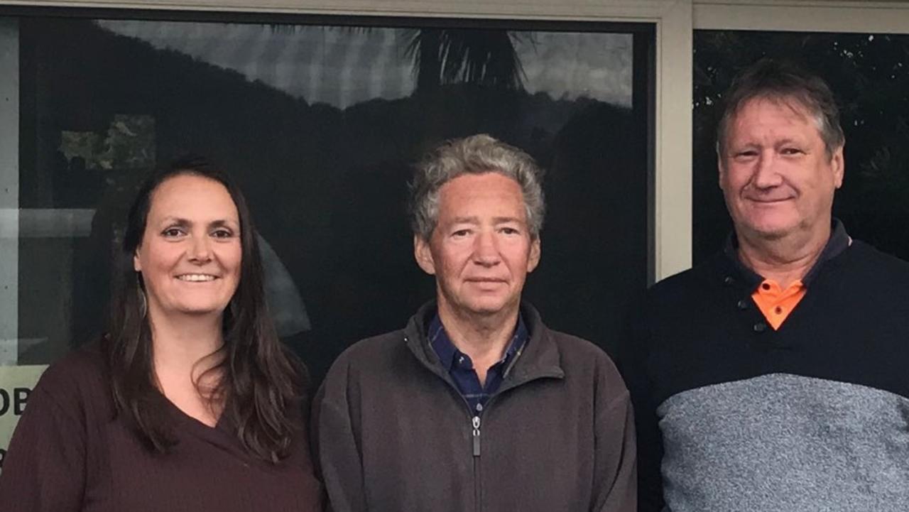 Janine Cramond, with her friend of three decades Robert Downing and husband Warren Wollard.