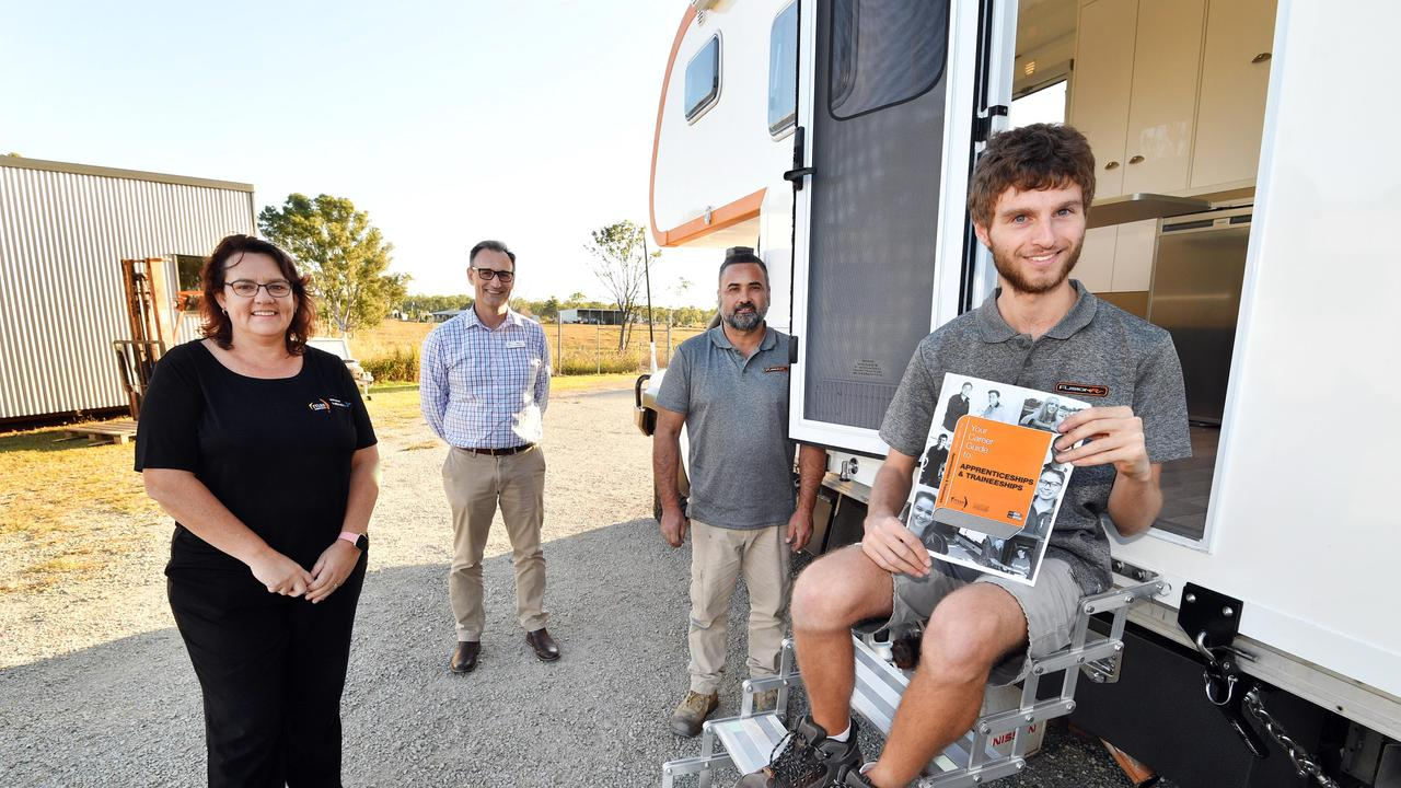 New apprentice Darcy Contessa at Fusion RV with Jill Wedmaier (AASN business consultant at MAS Experience), Mark Lourigan (Mgr. Economic Development at FCRC) and Fusion RV owner Andy Baldacchino. Photo: Alistair Brightman