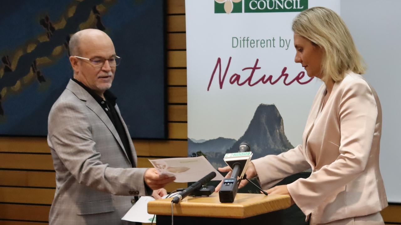 Noosa Council CEO Brett de Chastel left with Mayor Clare Stewart.