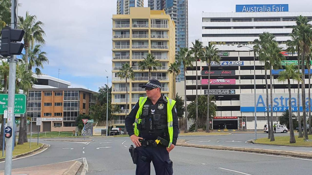 A police officer blocks traffic near Marine Parade in Southport after a suspicious device was found.