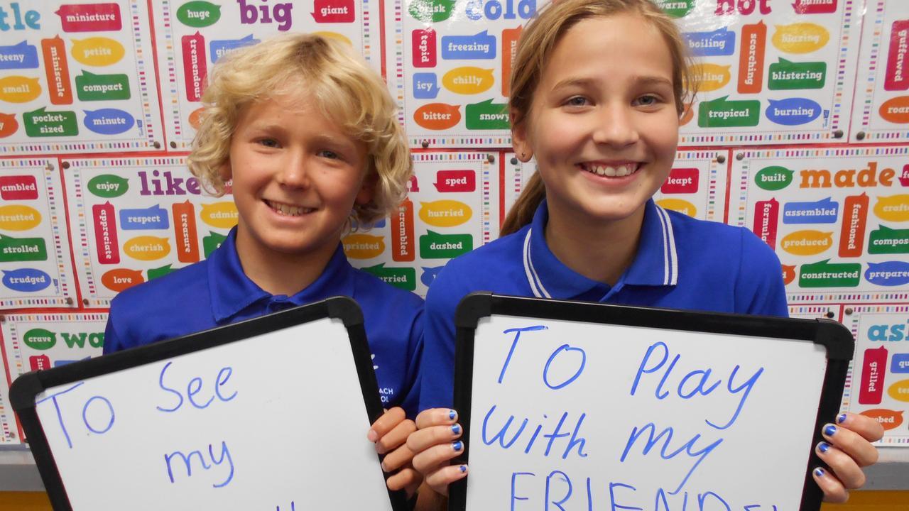 BACK TO SCHOOL: Sunshine Beach Primary student Lukas and Minka.