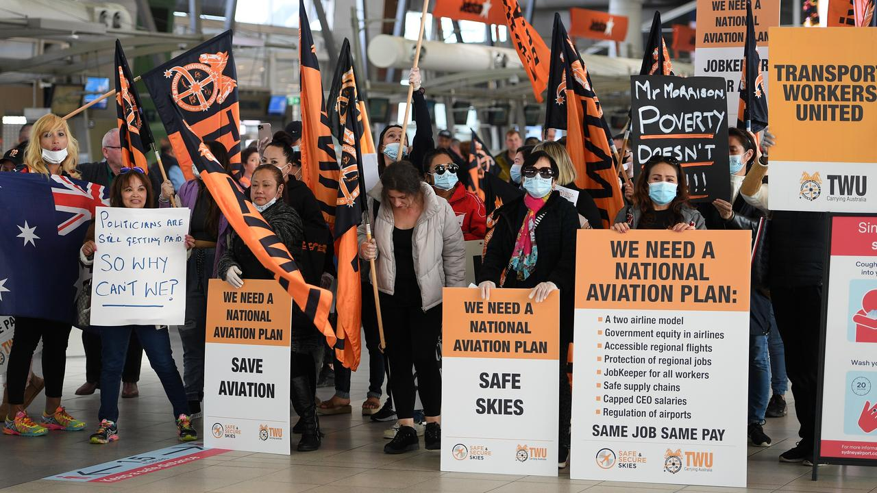 Aviation workers and supporters also protested at Sydney Airport on Thursday morning. Picture: Dan Himbrechts
