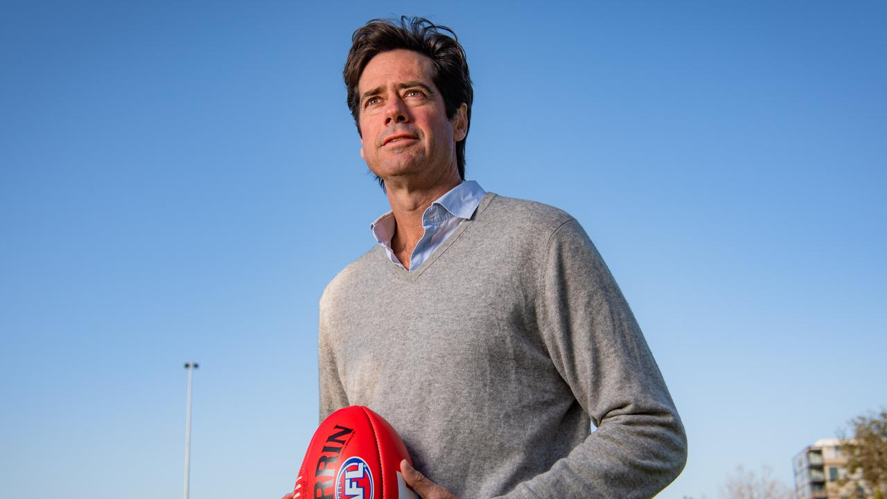 AFL chief Gillon McLachlan will need to give ground if he wants a TV deal before the Magpies and Tigers run out next week. Picture: Jason Edwards