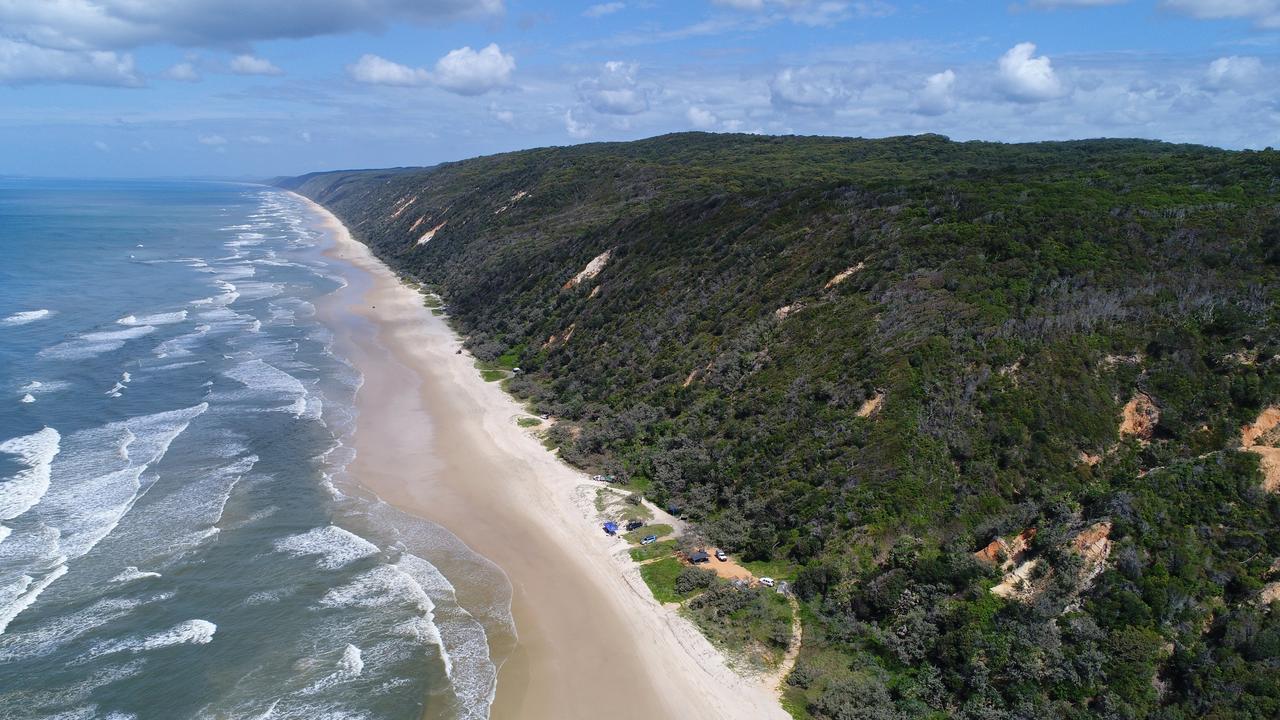 Aerial drone photos of Teewah Beach, Great Sandy National Park, Queensland.