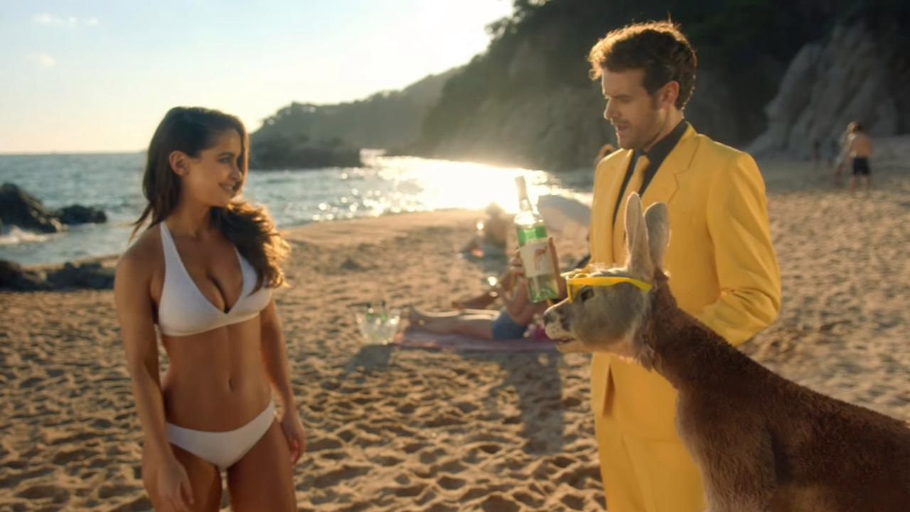 Australian model Ellie Gonsalves in a still from a Super Bowl TV advertisement by Aussie wine brand Yellow Tail.