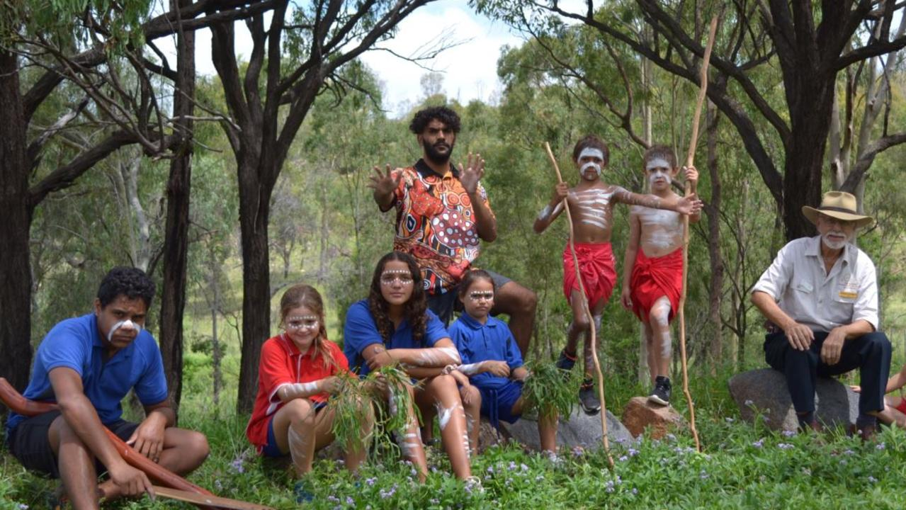 Eidsvold P-12 State School students learning about indigenous culture. Picture: Contributed