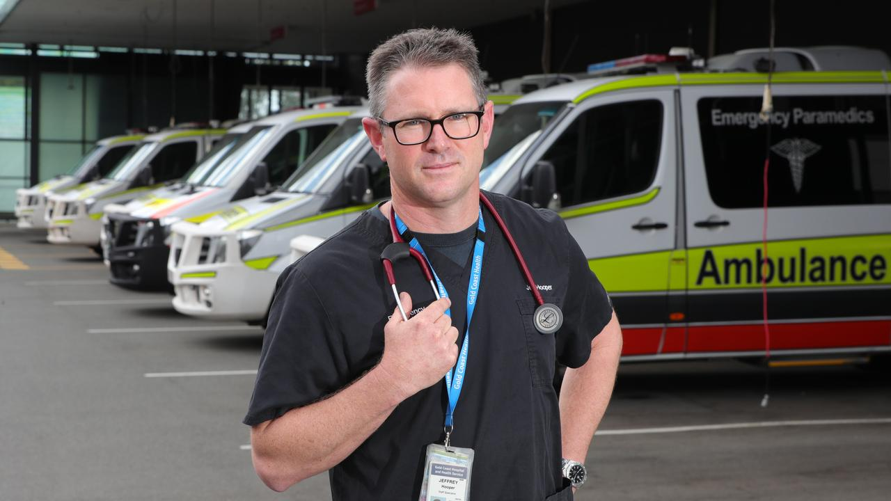 Dr Jeffrey Hooper in front of the Gold Coast University Hospital Emergency Department. Picture: Glenn Hampson