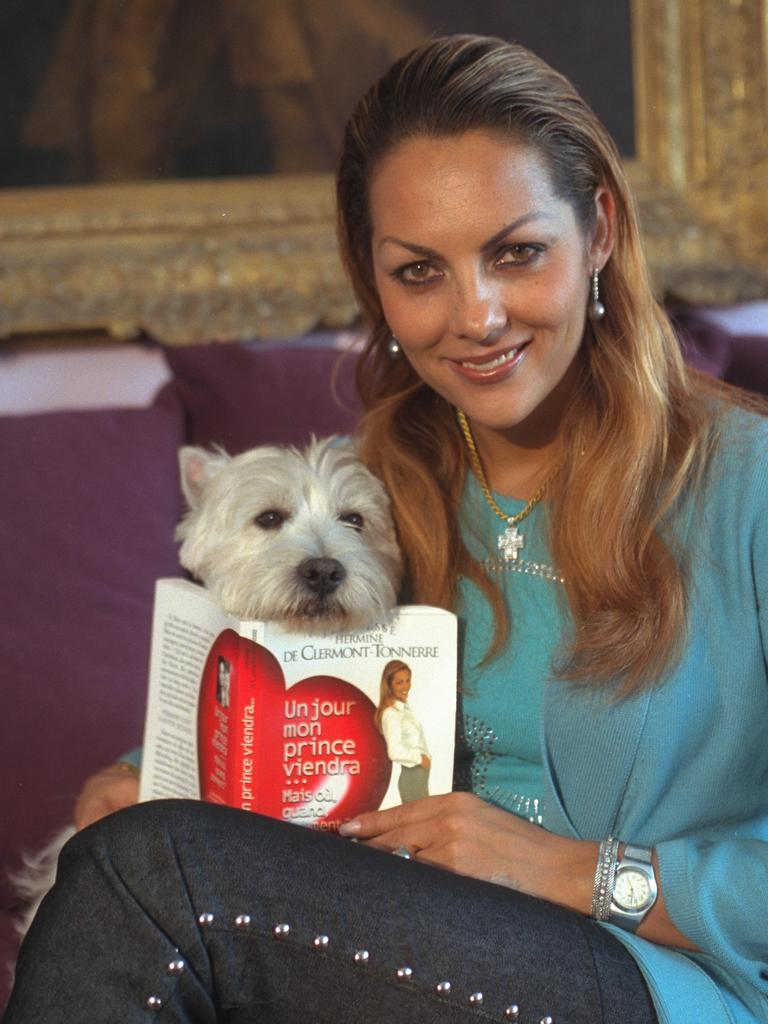 Princess Hermine de Clermont-Tonnerre at home with her dog. Picture: Eric Robert/Sygma/Sygma via Getty Images