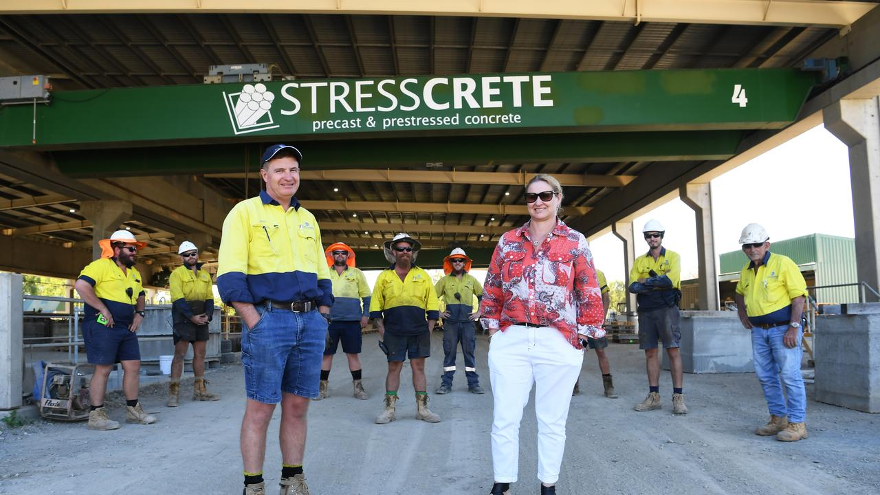 Craig and Fiona Zinn with staff at Rockhampton's Stresscrete are working hard to supply Adani's Carmichael Rail Project.