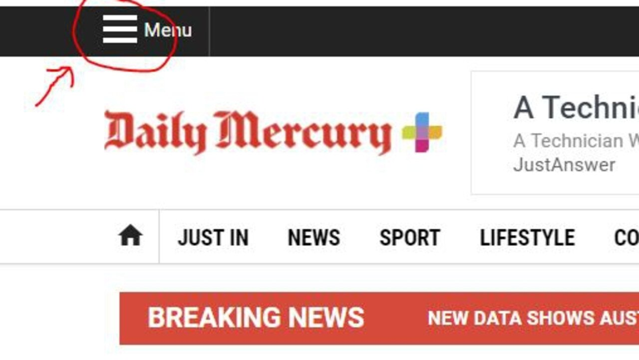 The menu can be found on the top left of the Daily Mercury website.