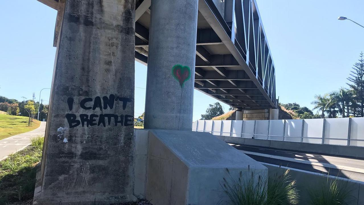 The phrase symbolic of the Black Lives Matter movement has been painted near the Grafton Bridge.