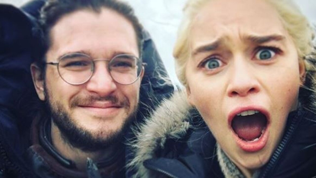 Kit Harington and Emilia Clarke on set of Game of Thrones. Picture: @emilia_clarke