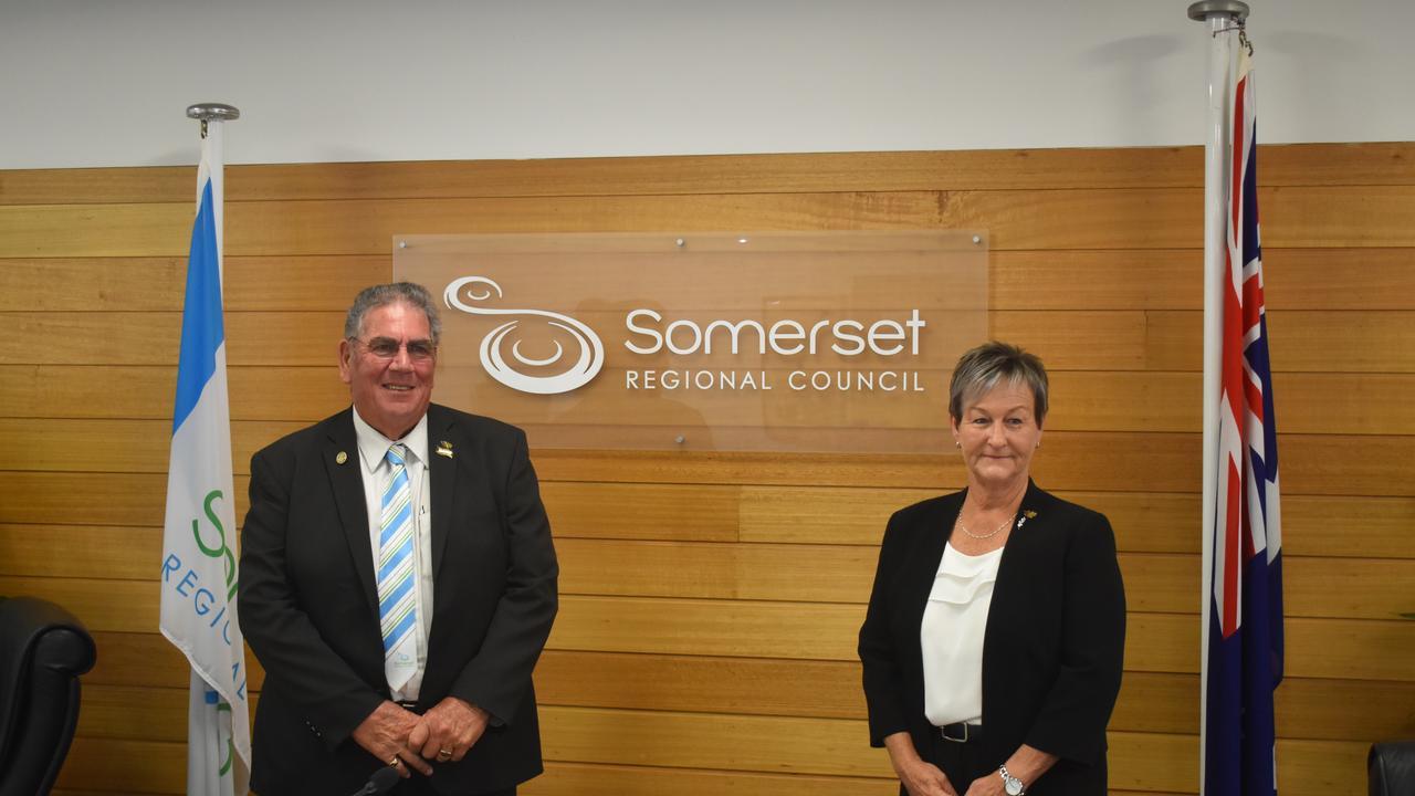 MEETING: Somerset Regional Council Mayor Graeme Lehmann with Deputy Mayor Helen Brieschke.