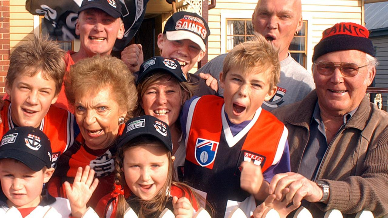 A young Jack Riewoldt (back, centre) ready to go and watch cousin Nick play for the Saints with his family in Tasmania.