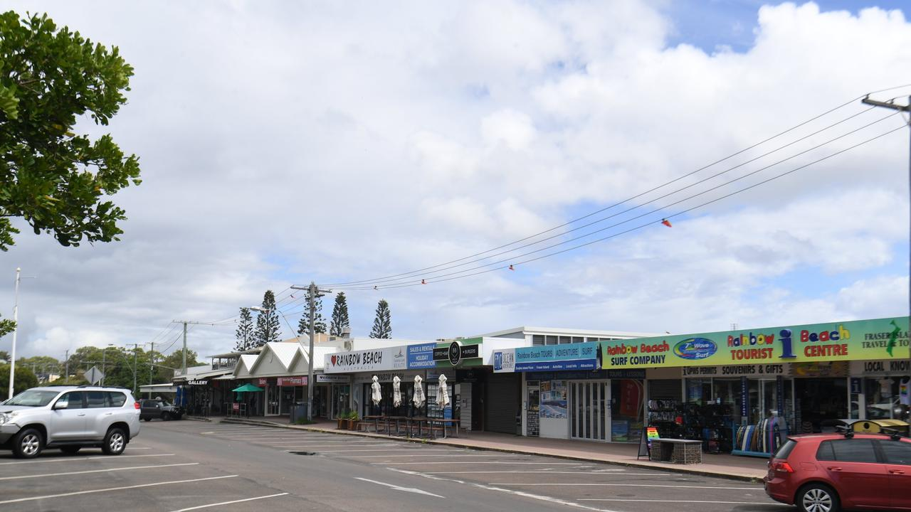 The main street in Rainbow Beach, pictured almost empty due to the coronavirus shutdown, has received a major facelift courtesy of Gympie Regional Council works.