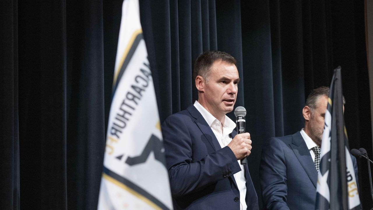 MACARTHUR CHRONICLE/AAP. MacarthurFC A-League Club launch at The Cube in the The Catholic Club Campbelltown. Ante Milicic the new coach of MAcarthur FC speaking with MC Simon Hill. Photographed today 15th May 2019. (AAP/Image Matthew Vasilescu