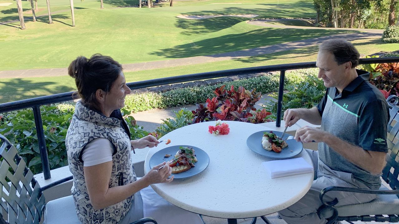 Mel Crosby and Warren Ellis have an appetite for breakfast at the table at Noosa Springs.