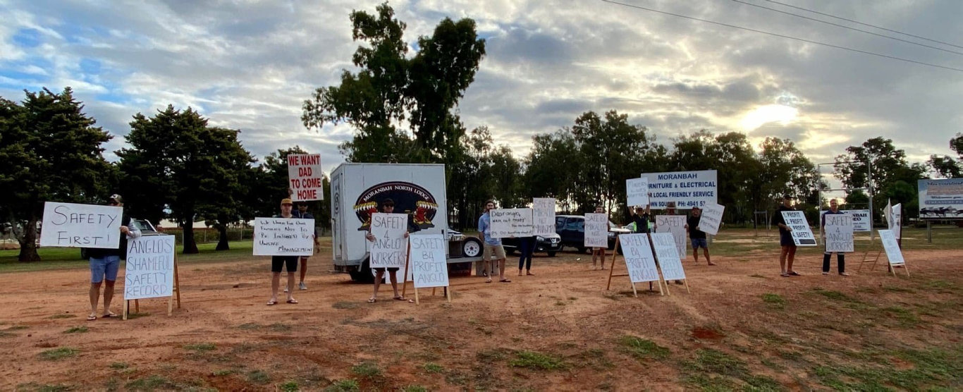 Workers protested near Anglo American's Moranbah North Mine over safety concerns on Friday June 5.