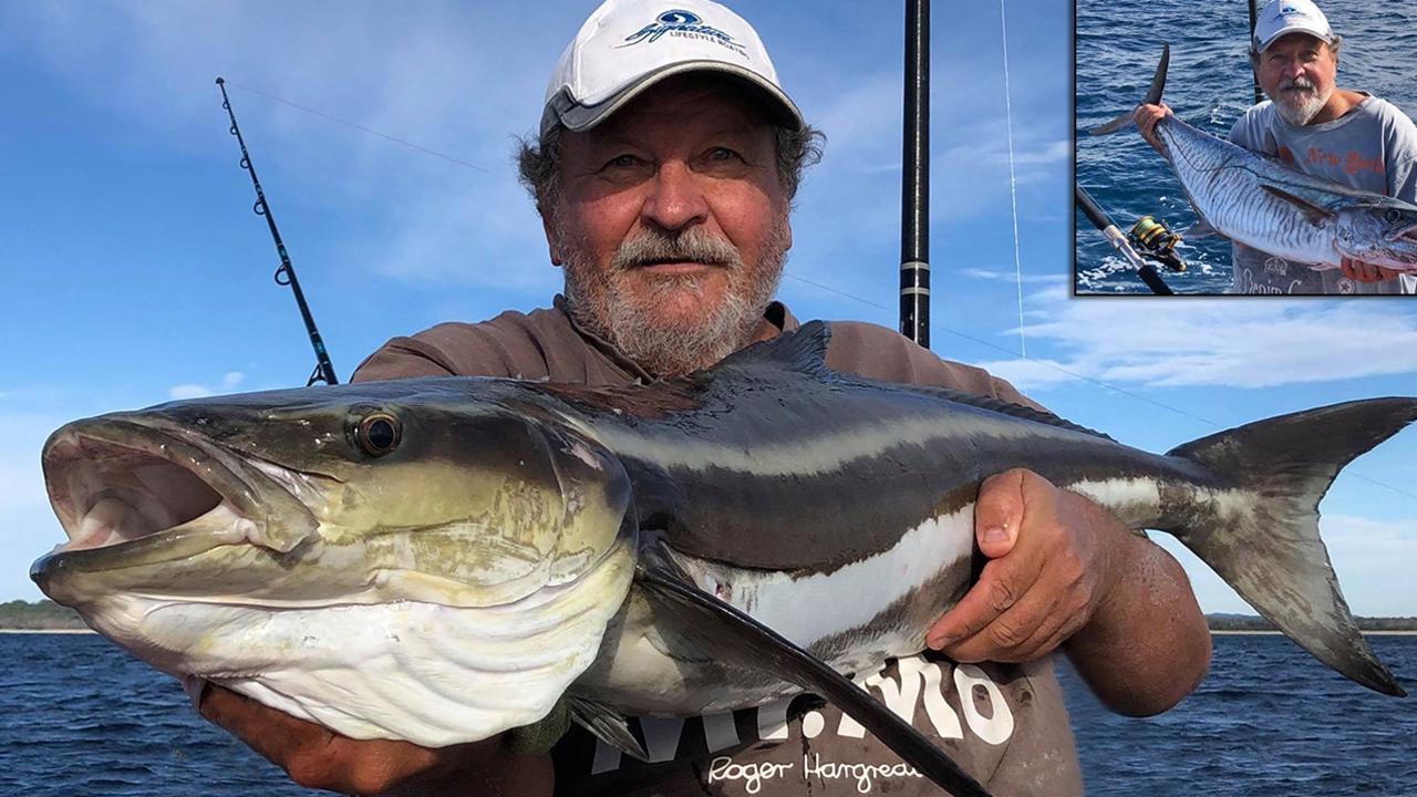 GOTCHA - Joel Hautala with a cobia and Spanish mackerel which he caught at Hall's Reef in Laguna Bay. Photo: www.fishingnoosa.com.au