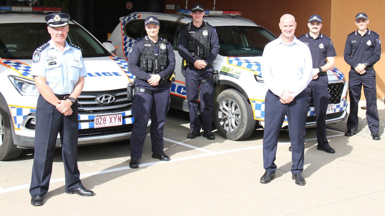 Gladstone police Inspector Darren Somerville, new constables Rikki Hunter, Matt Price, MP Glenn Butcher, Liam Fitz-Adams and Sam Allen at Gladstone police station.