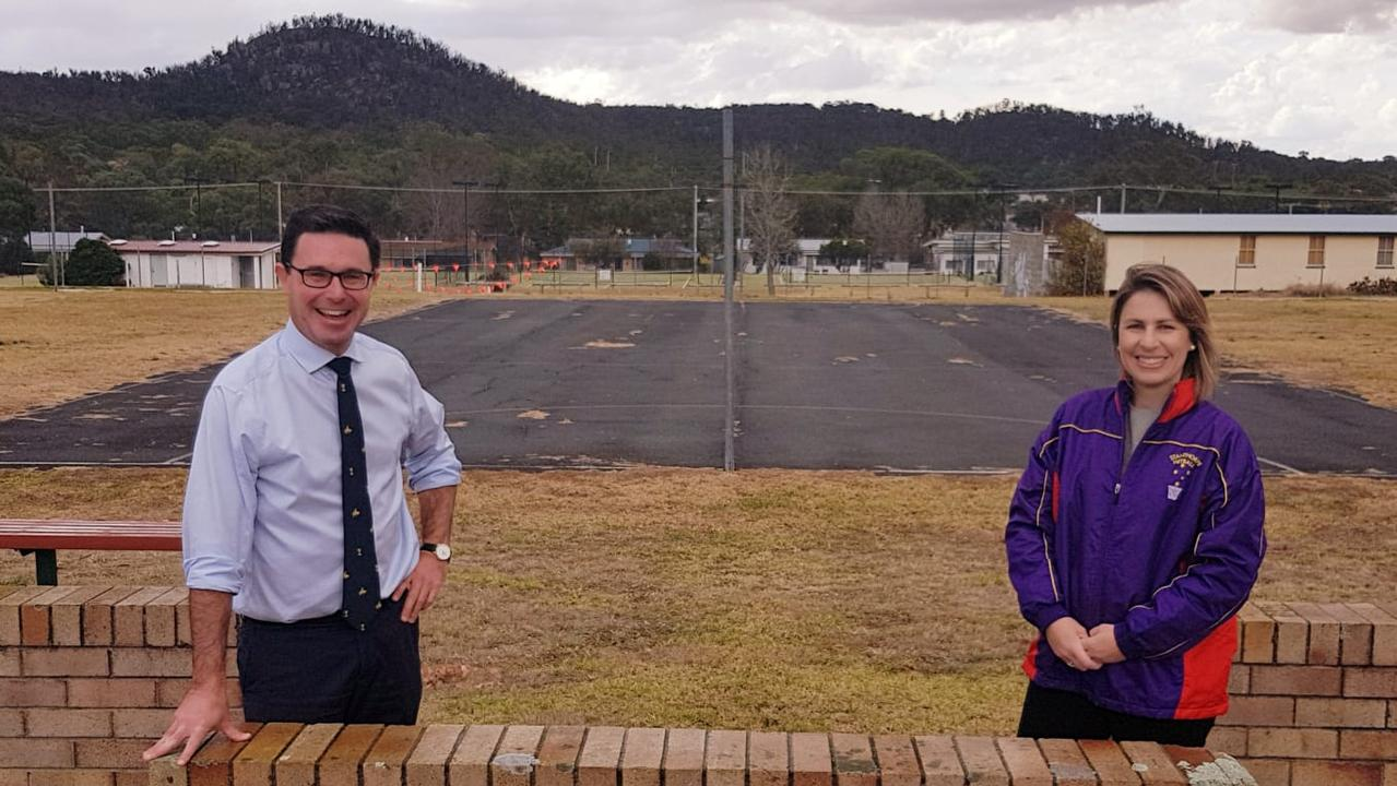 COMING SOON: Maranoa MP David Littleproud with Stanthorpe Netball Association president Natalie Vedelago.