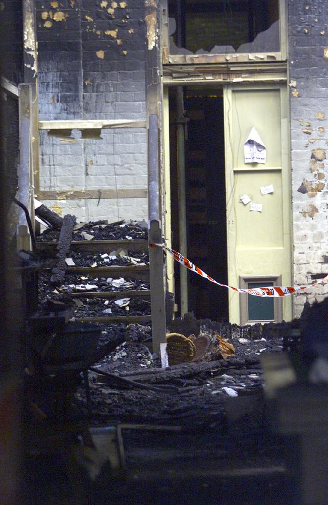 The burnt interior of the backpackers.