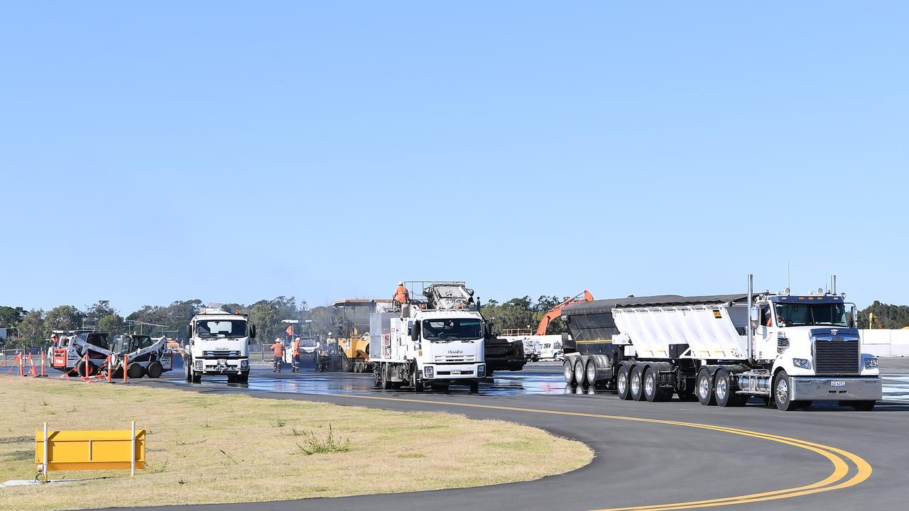 Sunshine Coast Airport new runway tarmac. Photo Patrick Woods / Sunshine Coast Daily.