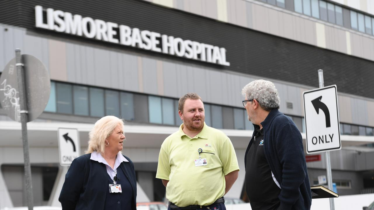 Acting domestic services manager Sharee Flanagan, hospital assistant Josh Hanstock, and lead business engagement consultant Petar Ilic outside the Lismore Base Hospital.