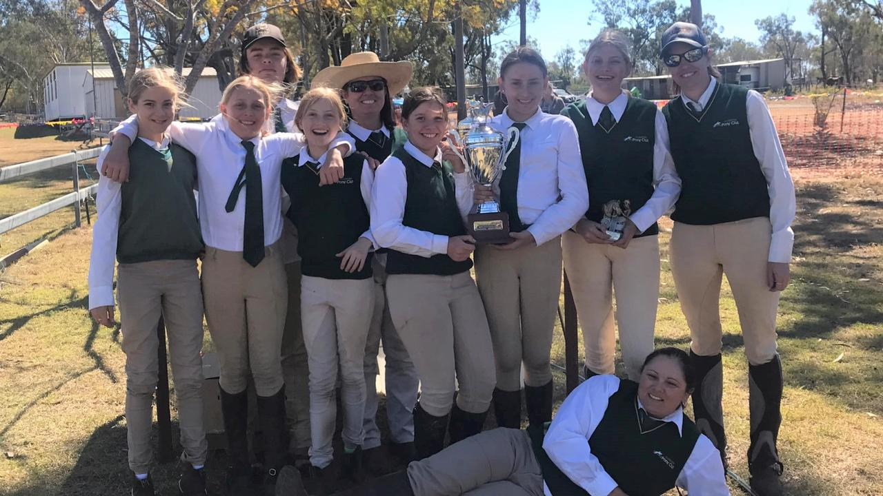 KEEPING SPIRITS UP: Clermont Pony Club members.